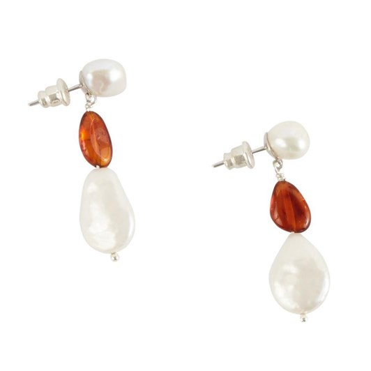 Holly Ryan Pearl And Amber Drop Earrings - Sterling Silver