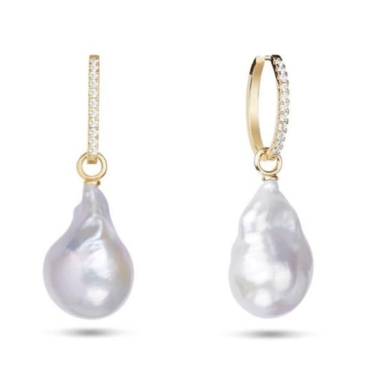 Monarc Jewellery Embrasé Diamond & Pearl Hoop Earrings. 9k Yellow Gold
