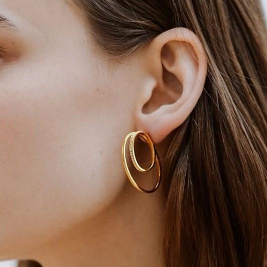 Monarc Jewellery Cleopatra Double Hoop Earrings. 9k Yellow Gold