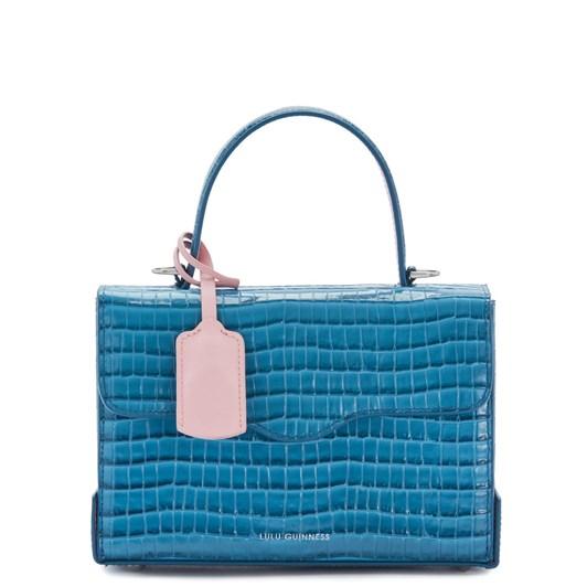 Lulu Guinness Sailor Blue Croc Small Leather Queenie Handbag