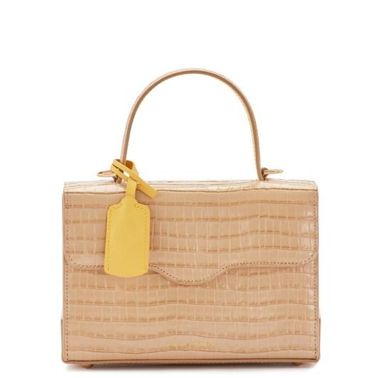 Lulu Guinness Almond Croc Small Leather Queenie Handbag