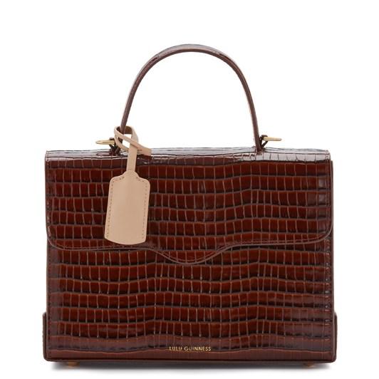 Lulu Guinness Chocolate Croc Large Leather Queenie Handbag