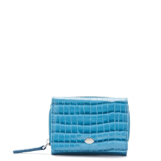 Lulu Guinness Lip Pin Croc Lewis Wallet