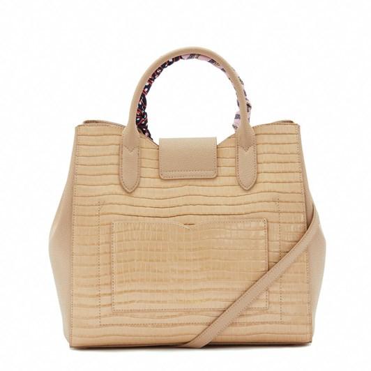 Lulu Guinness Almond Croc Leather Luella Handbag