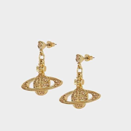 Vivienne Westwood Mini Bas Relief Drop Earrings Gold Light Colorado Topaz