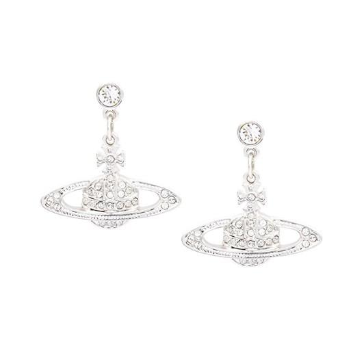 Vivienne Westwood Mini Bas Relief Drop Earrings Rhodium Crystal