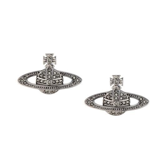 Vivienne Westwood Mini Bas Relief Earrings Rhodium Crystal