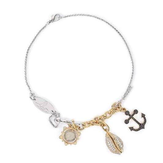 Vivienne Westwood Marietta Necklace Gold / Rhodium White  Cz Black  Cz