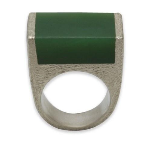 Black Matter Pounamu And Sterling Silver Ring