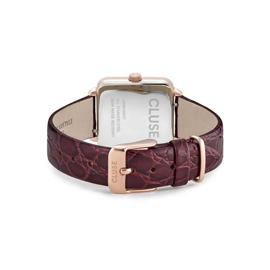 Cluse La Tétragone Leather Rose Gold White Pearl/Red Alligator
