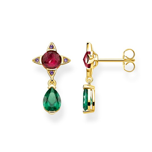 Thomas Sabo Earrings Green Drop with Red Stone