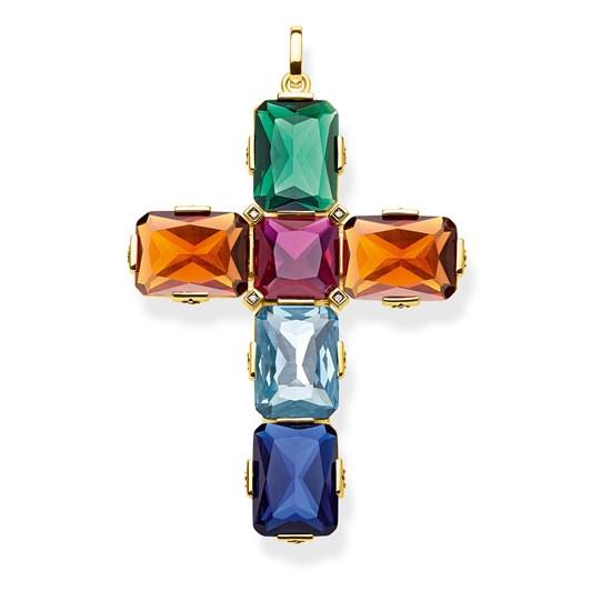 Thomas Sabo Pendant Cross Colourful Stones, Large - Gold
