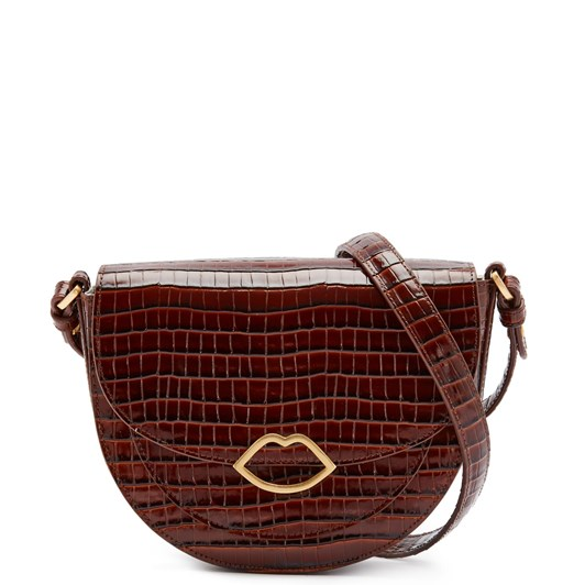 Lulu Guinness Med Croc Cut Out Lip Esme Saddle Bag