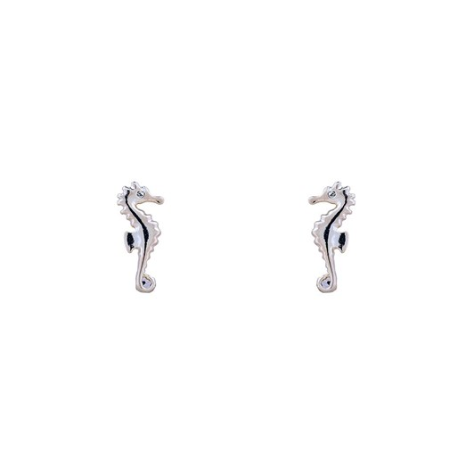 Short Story Earring Seahorse Silver