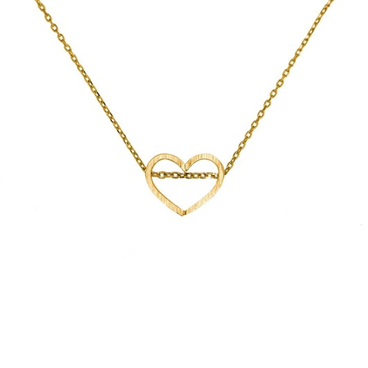 Short Story Necklace Love Heart Stencil Gold