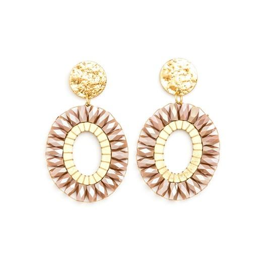Stella & Gemma Earring Oval Beads Rose W/Coin