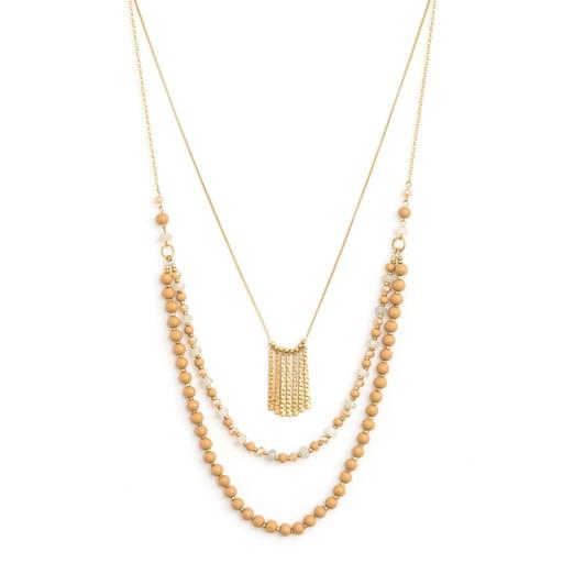 Stella & Gemma Necklace Multi Nat Bead/Gld Drops