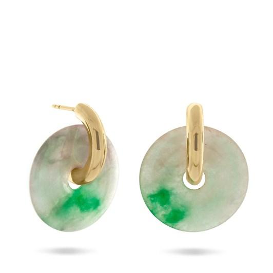 Monarc Jewellery Margarita Hoop Earrings, Gold Vermeil & Repurposed Jade