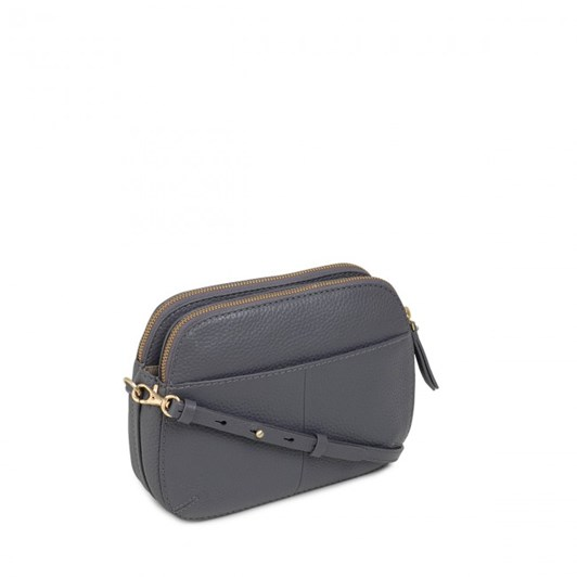 Radley Dukes Place Leather Ziptop Crossbody Bag Charcoal