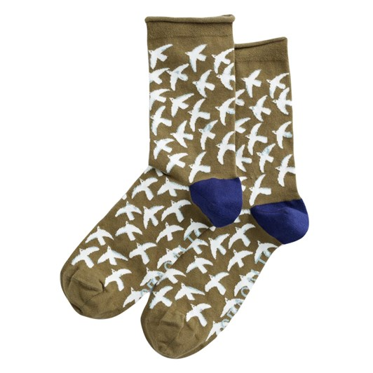 Seasalt Womens Arty Socks St Ives Gulls Bright Olive