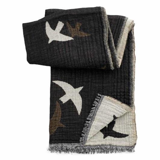 Seasalt Fireside Shawl Flying Collage Birds Black