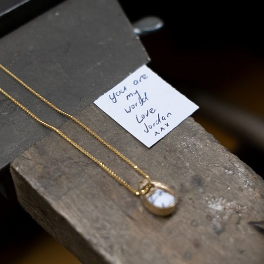 Love In A Jewel The Full Love Drop (Yellow Gold) with Diamonds & Gold Chain