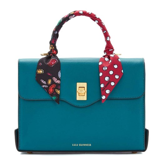 Lulu Guinness Textured Leather Queenie W/Sca Emerald