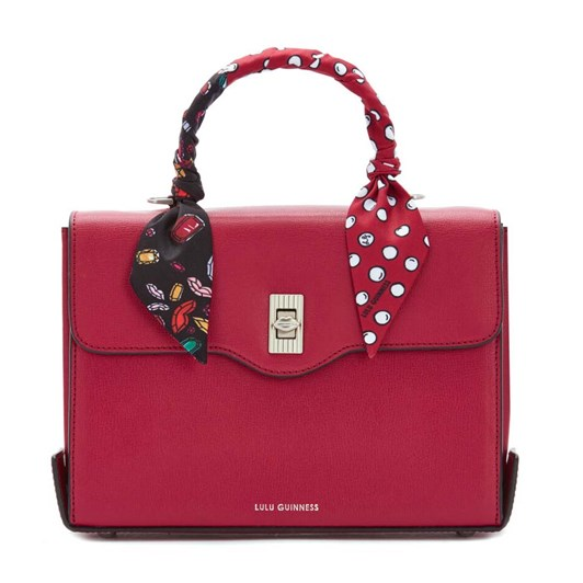 Lulu Guinness Textured Leather Queenie W/Sca Raspberry
