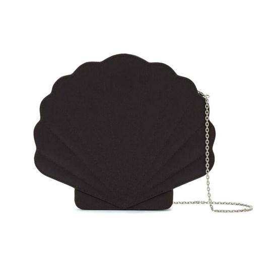 Lulu Guinness Shell Satin Clutch Black