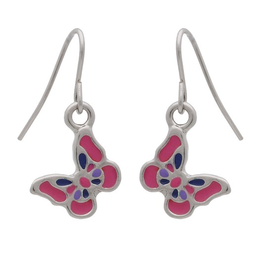 Glamuzina Rhodium Butterfly Drop Earring