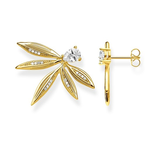 Thomas Sabo Magic Garden Leaf Yellow Gold Plated Earrings