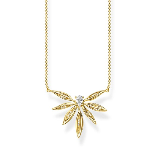 Thomas Sabo Magic Garden Small Leaf Yellow Gold Plated Necklace 45Cm