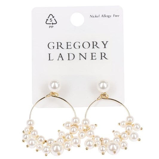 Gregory Ladner Hoop Drop Earring With Pearls