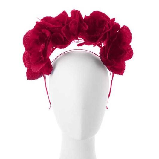 Olga Berg Duchess Velvet And Organza Rose Headband