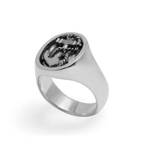 Black Matter Nautical Anchor Signet Ring Polished