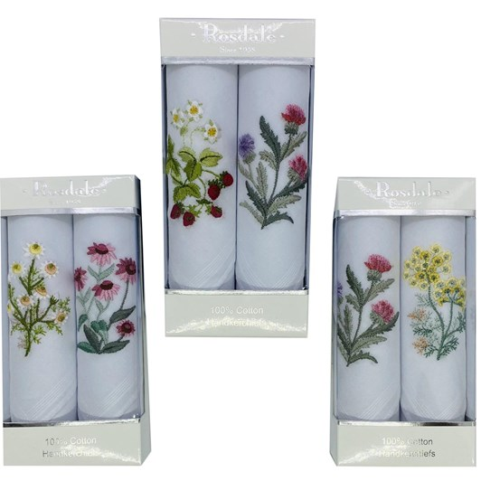 Rosdale Herbs Embroidery Handkerchief Pack Of 2