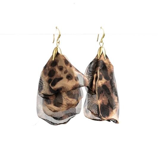 Stella + Gemma Leopard Organza Petal Earring