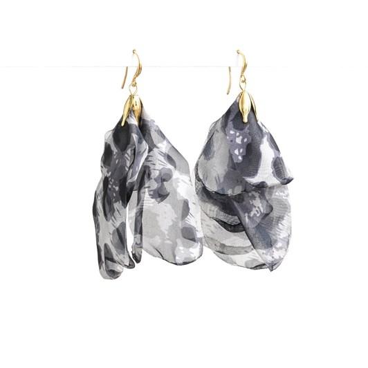 Stella + Gemma Leopard Grey Organza Petal Earring