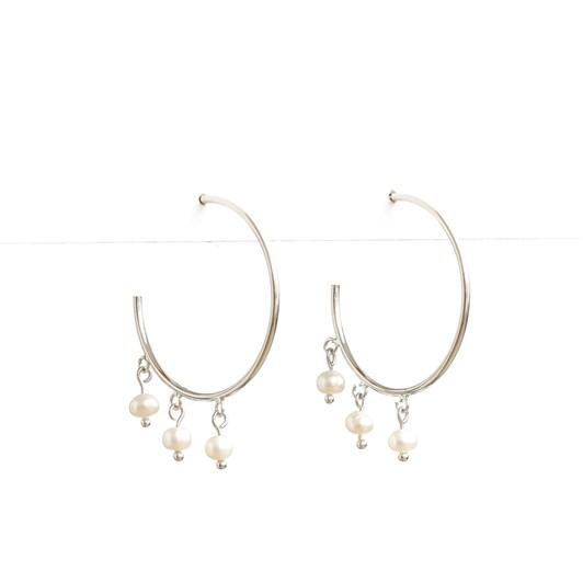 Stella + Gemma Silver Boho Pearl Hoop Earring