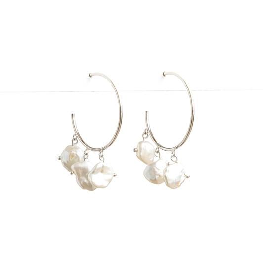 Stella + Gemma Silver With Freshwater Pearl Hoop Earring