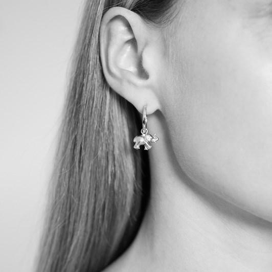 Monarc Jewellery Zeenat Elephant Charm & Virginia Hoops Silver