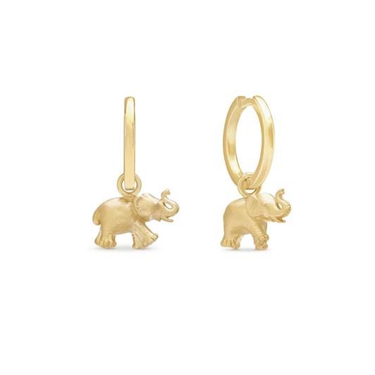 Monarc Jewellery Zeenat Elephant Charm & Virginia Hoops Gold Vermeil