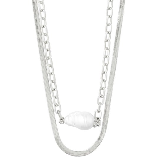 Pilgrim Gracefulness Silver Plated White Necklace