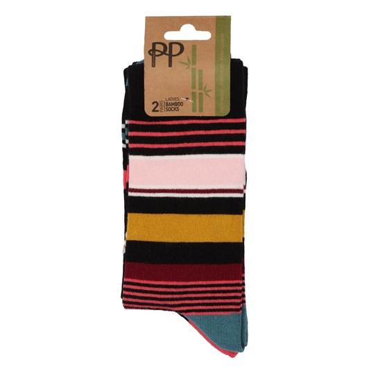 Pretty Polly Bamboo Multi Stripe Socks - 2 Pack