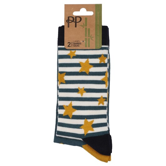Pretty Polly Bamboo Stars And Stripes Socks - 2 Pack