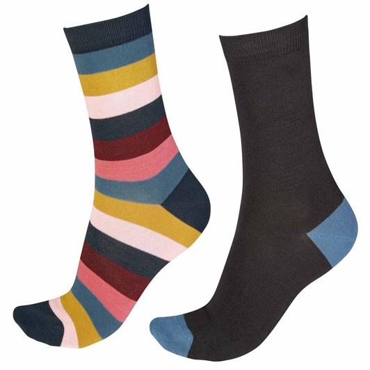 Pretty Polly Bamboo Wide Stripe Socks - 2 Pack