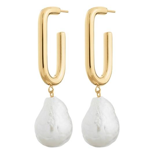 Edblad Trellis Pearl Large Gold Earrings