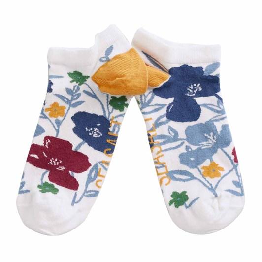 Seasalt Women's Bamboo Arty Trainer Socks Printed Poppies Ecru