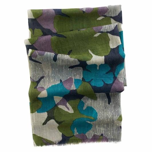 Seasalt Pretty Printed Scarf Layered Floral Cedar Green