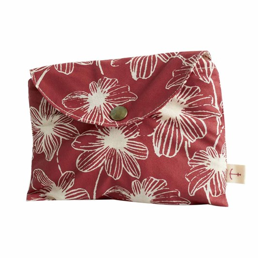 Seasalt Foldaway Canvas Shopper Linear Blooms Dark Cinnamon